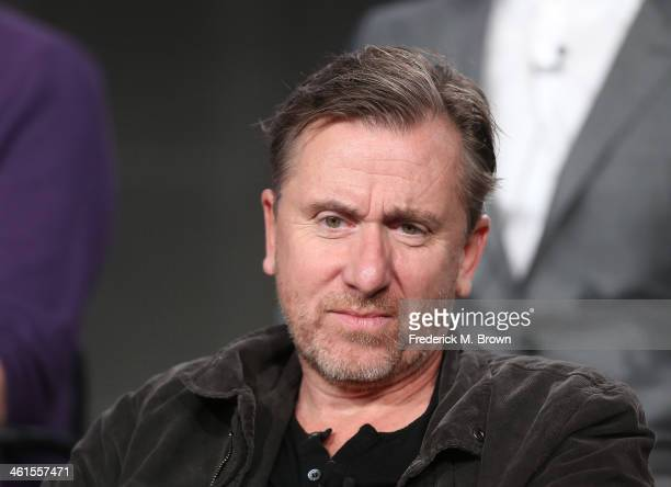 Actor Tim Roth speaks onstage during the 'Discovery Channel Klondike' panel discussion at the Discovery Communications portion of the 2014 Winter...