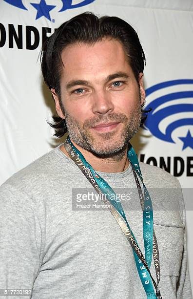 Actor Tim Rozon attends the Wynonna Earp panel at WonderCon 2016 Day 2 at Los Angeles Convention Center on March 26 2016 in Los Angeles California