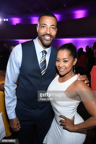 Actor Timon Kyle Durrett and actress Lisa Wu at 2017 BronzeLens Film Festival Women SuperStars Luncheon at Westin Peachtree Plaza on August 25 2017...