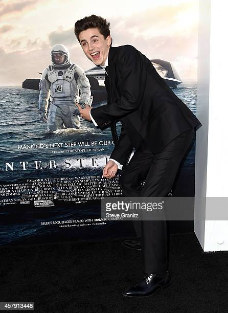 Actor Timothée Chalamet attends the 'Interstellar' Los Angeles premiere at TCL Chinese Theatre IMAX on October 26 2014 in Hollywood California