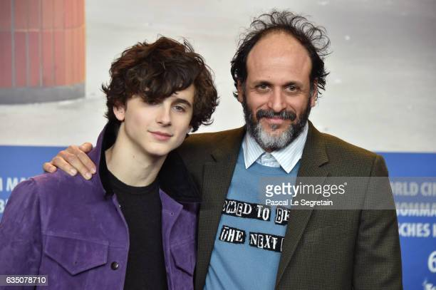 Actor Timothee Chalamet and director Luca Guadagnino attend the 'Call Me by Your Name' press conference during the 67th Berlinale International Film...