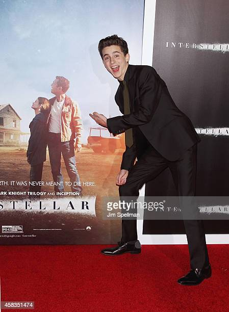 Actor Timothee Chalamet attends the 'Interstellar' New York Premiere at AMC Lincoln Square Theater on November 3 2014 in New York City