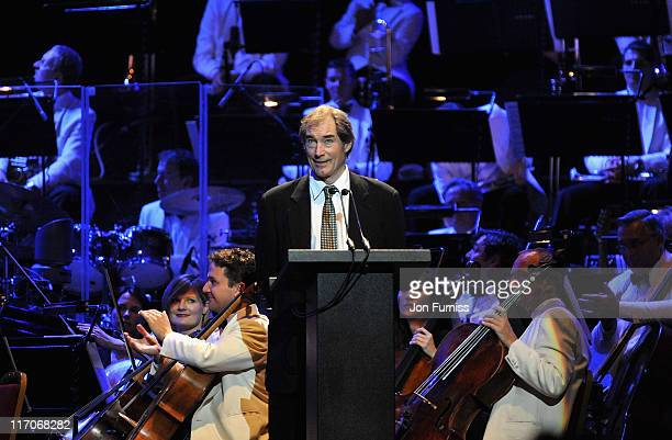 Actor Timothy Dalton speaks on stage during the John Barry Memorial Concert at the Royal Albert Hall on June 20 2011 in London England