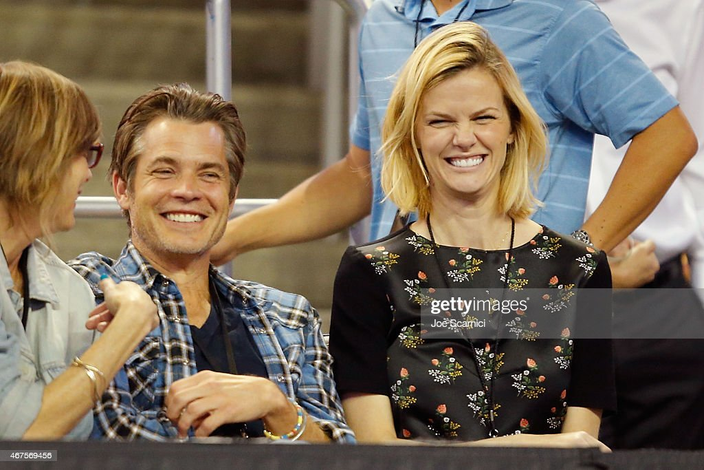 Actor Timothy Olyphant and actress/model Brooklyn Decker attend the PowerShares Series SoCal Honda Dealers Helpful Cup at Galen Center on March 25...