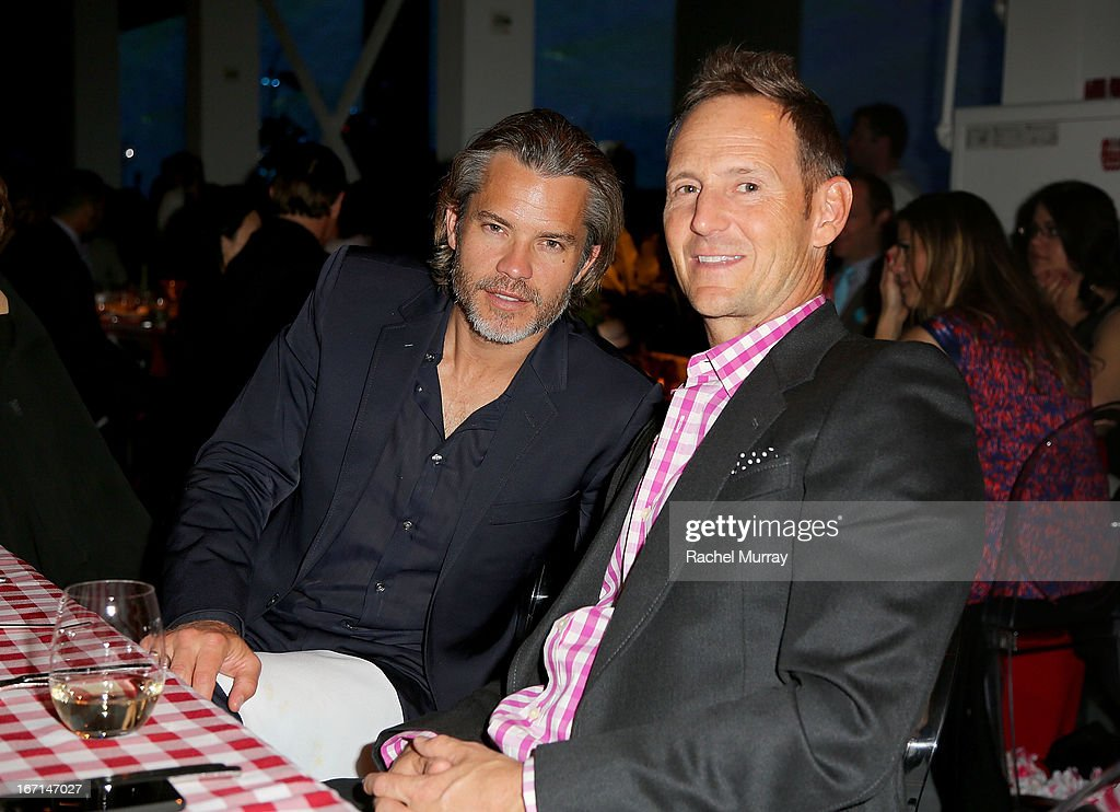 Actor <a gi-track='captionPersonalityLinkClicked' href=/galleries/search?phrase=Timothy+Olyphant&family=editorial&specificpeople=589275 ng-click='$event.stopPropagation()'>Timothy Olyphant</a> and fashion designer Todd Thompson attend 'Yessss!' MOCA Gala 2013, celebrating the opening of the exhibition Urs Fischer - Ferrari at MOCA Grand Avenue on April 20, 2013 in Los Angeles, California.