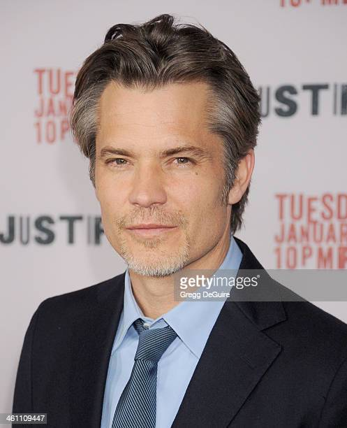 Actor Timothy Olyphant arrives at the Los Angeles premiere of FX 'Justified' at DGA Theater on January 6 2014 in Los Angeles California