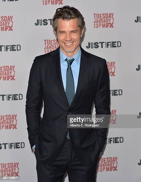 Actor Timothy Olyphant arrives to the Season 5 premiere of FX's 'Justified' at DGA Theater on January 6 2014 in Los Angeles California