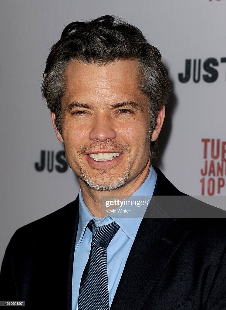 Actor <a gi-track='captionPersonalityLinkClicked' href=/galleries/search?phrase=Timothy+Olyphant&family=editorial&specificpeople=589275 ng-click='$event.stopPropagation()'>Timothy Olyphant</a> attends the season 5 premiere screening of FX's 'Justified' at the DGA Theater on January 6, 2014 in Los Angeles, California.