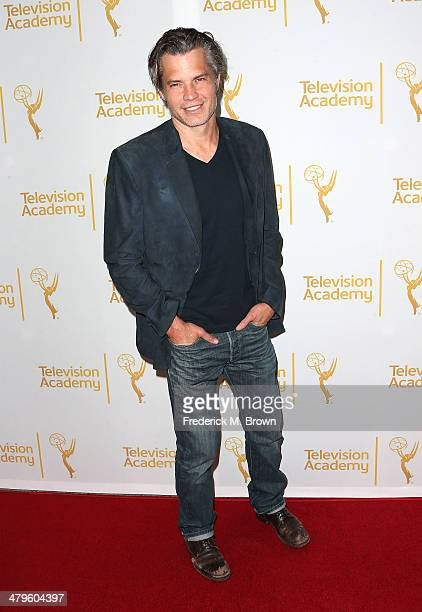 Actor Timothy Olyphant attends The Television Academy Presents an Evening with 'Justified' at the Leonard H Goldenson Theatre on March 19 2014 in...