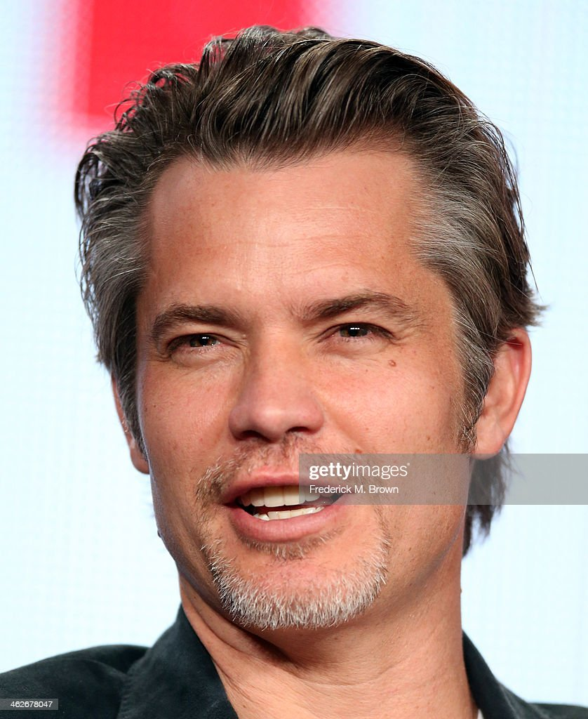 Actor <a gi-track='captionPersonalityLinkClicked' href=/galleries/search?phrase=Timothy+Olyphant&family=editorial&specificpeople=589275 ng-click='$event.stopPropagation()'>Timothy Olyphant</a> of the television show 'Justified' speaks onstage during the FX portion of the 2014 Television Critics Association Press Tour at the Langham Hotel on January 14, 2014 in Pasadena, California.
