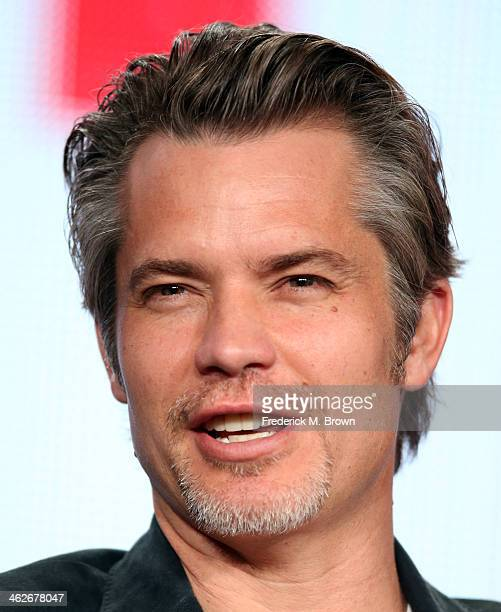 Actor Timothy Olyphant of the television show 'Justified' speaks onstage during the FX portion of the 2014 Television Critics Association Press Tour...