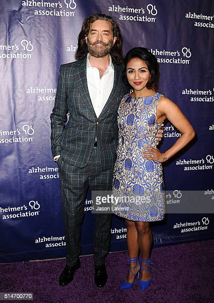 Actor Timothy Omundson and actress Karen David attend the 2016 Alzheimer's Association's 'A Night At Sardi's' at The Beverly Hilton Hotel on March 9...