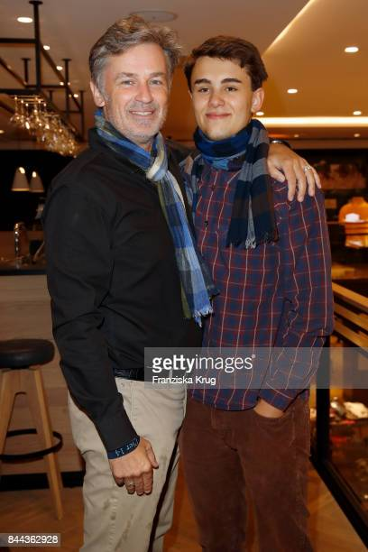 Actor Timothy Peach and his son Nelson attend the Till Demtroeders CharityEvent 'Usedom Cross Country' at Pier 14 on September 8 2017 near...