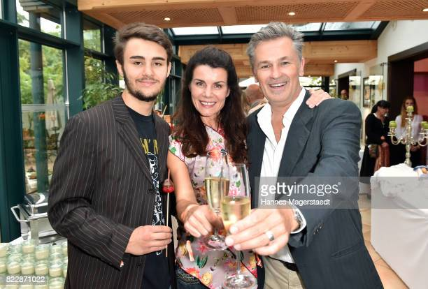 Actor Timothy Peach and his wife Nicola Tiggeler and their son Nelson during the 'La Dolce Vita Grillfest' at Gruenwalder Einkehr on July 25 2017 in...