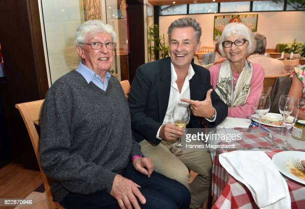 Actor Timothy Peach his mother Gisela Peach and his father Peter Peach during the 'La Dolce Vita Grillfest' at Gruenwalder Einkehr on July 25 2017 in...