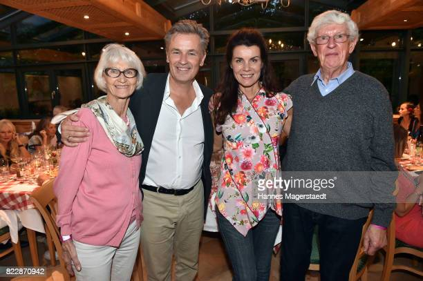 Actor Timothy Peach his mother Gisela Peach his wife Nicola Tiggeler and his father Peter Peach during the 'La Dolce Vita Grillfest' at Gruenwalder...