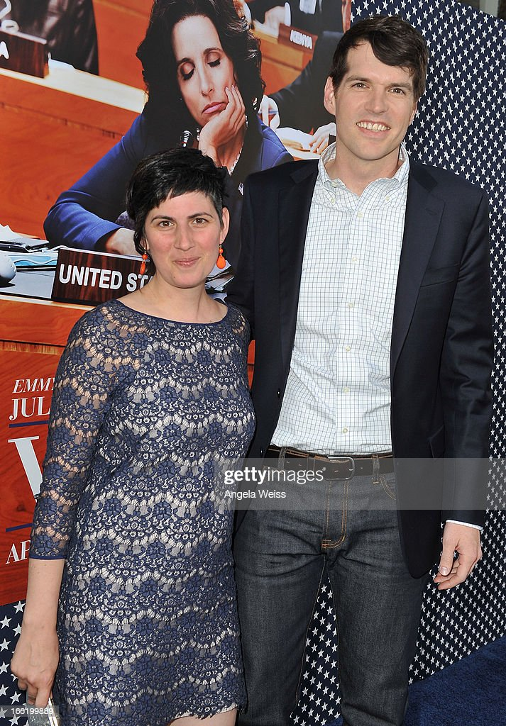 Actor Timothy Simons (R) and wife Annie Simons attend the Los Angeles premiere for the second season of HBO's series 'Veep' at Paramount Studios on April 9, 2013 in Hollywood, California.