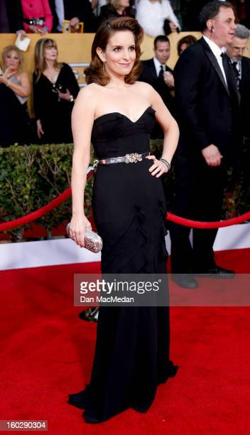 Actor Tina Fey arrives at the 19th Annual Screen Actors Guild Awards at the Shrine Auditorium on January 27 2013 in Los Angeles California