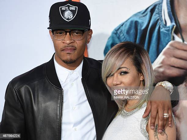 Actor Tip 'TI' Harris and his wife Tiny arrive for the premiere of the movie 'Get Hard' at the TCL Chinese Theatre in Hollywood California on March...