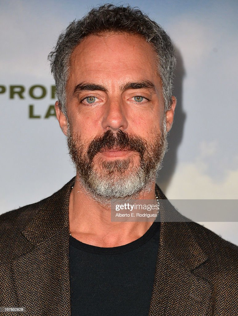 Actor <a gi-track='captionPersonalityLinkClicked' href=/galleries/search?phrase=Titus+Welliver&family=editorial&specificpeople=2544284 ng-click='$event.stopPropagation()'>Titus Welliver</a> arrives to the premiere of Focus Features' 'Promised Land' at the Directors Guild Of America on December 6, 2012 in Los Angeles, California.