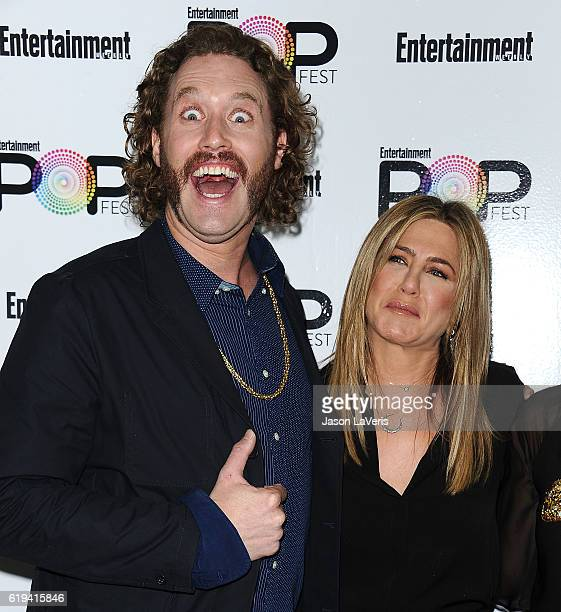 Actor TJ Miller and actress Jennifer Aniston attend Entertainment Weekly's Popfest at The Reef on October 30 2016 in Los Angeles California