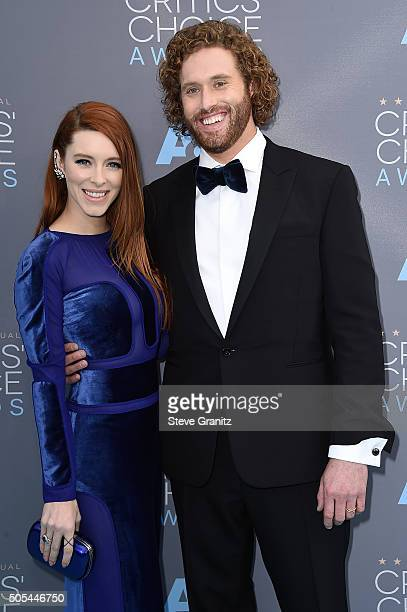Actor TJ Miller and actress Kate Gorney attend the 21st Annual Critics' Choice Awards at Barker Hangar on January 17 2016 in Santa Monica California