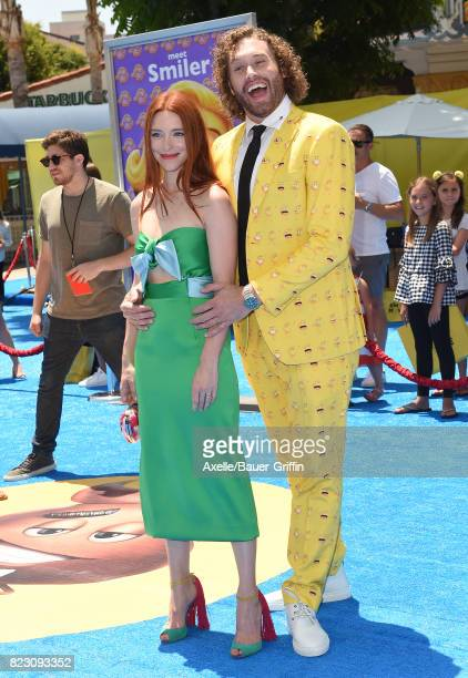 Actor TJ Miller and wife Kate Gorney arrive at the premiere of 'The Emoji Movie' at Regency Village Theatre on July 23 2017 in Westwood California