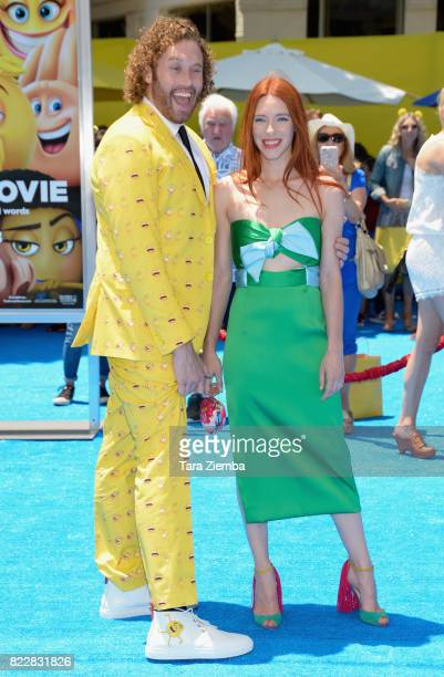 Actor TJ Miller and wife Kate Gorney attend the premiere of Columbia Pictures and Sony Pictures 'The Emoji Movie' at Regency Village Theatre on July...