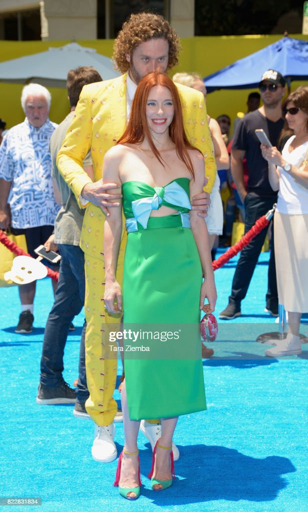 Actor T.J. Miller and wife Kate Gorney attend the premiere of Columbia Pictures and Sony Pictures 'The Emoji Movie' at Regency Village Theatre on July 23, 2017 in Westwood, California.