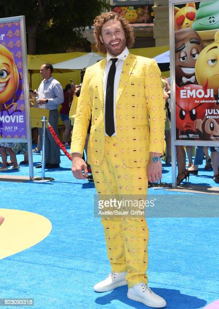 Actor TJ Miller arrives at the premiere of 'The Emoji Movie' at Regency Village Theatre on July 23 2017 in Westwood California