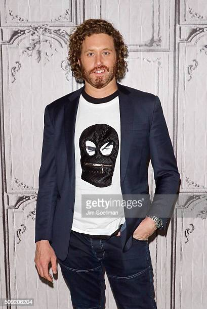 Actor TJ Miller attends the AOL Build Speaker Series Ryan Reynolds TJ Miller Ed Skrein and Morena Baccarin 'Deadpool' at AOL Studios In New York on...