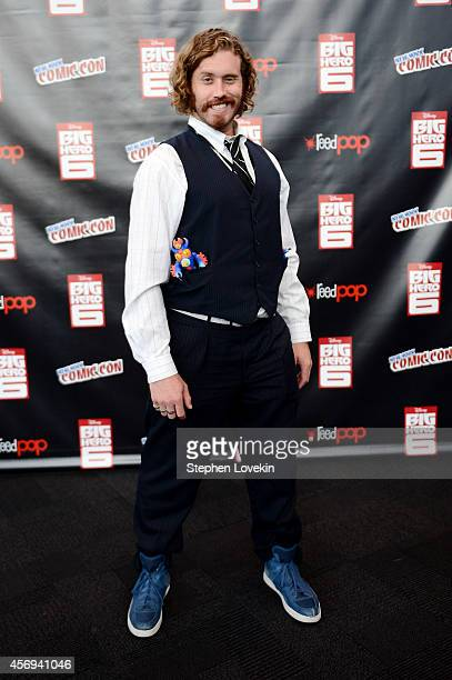 Actor TJ Miller attends Walt Disney Studios' 2014 New York Comic Con presentations of 'Big Hero 6' and 'Tomorrowland' at the Javits Convention Center...