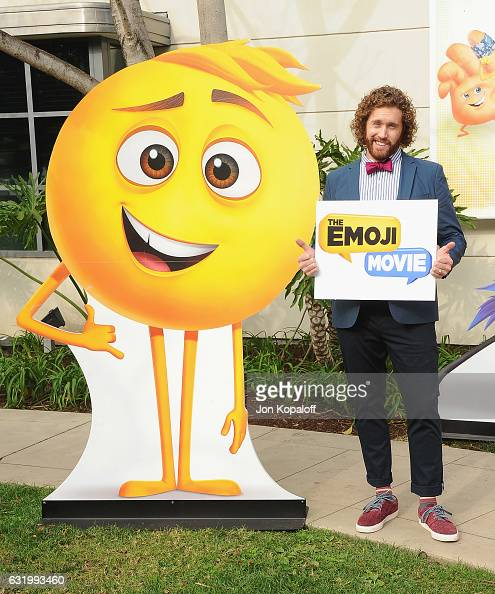Actor TJ Miller poses at the Photo Call For Columbia Pictures' 'The Emoji Movie' at Sony Pictures Studios on January 18 2017 in Culver City California
