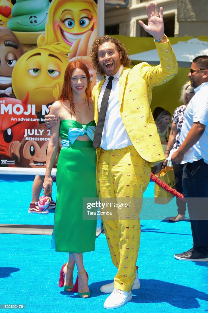 Actor T.J. Miller R and wife Kate Gorney attend the premiere of Columbia Pictures and Sony Pictures 'The Emoji Movie' at Regency Village Theatre on July 23, 2017 in Westwood, California.