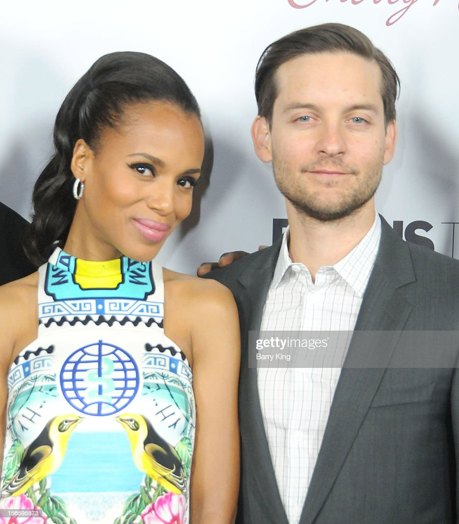 Actor Tobey Maguire and actress Kerry Washington attend the premiere of 'The Details' t ArcLight Cinemas on October 29, 2012 in Hollywood, California.