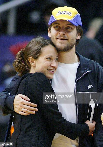 Actor Tobey Maguire and girlfriend Jennifer Meyer attend the game between the Los Angeles Lakers and the Indiana Pacers at the Staples Center on...