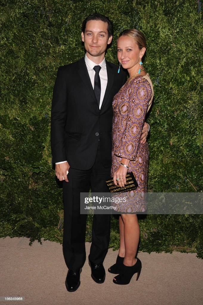 Actor <a gi-track='captionPersonalityLinkClicked' href=/galleries/search?phrase=Tobey+Maguire&family=editorial&specificpeople=203015 ng-click='$event.stopPropagation()'>Tobey Maguire</a> and <a gi-track='captionPersonalityLinkClicked' href=/galleries/search?phrase=Jennifer+Meyer&family=editorial&specificpeople=240137 ng-click='$event.stopPropagation()'>Jennifer Meyer</a> attend The Ninth Annual CFDA/Vogue Fashion Fund Awards at 548 West 22nd Street on November 13, 2012 in New York City.