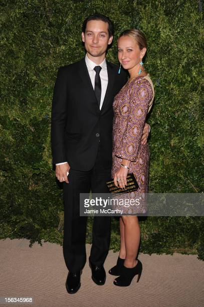 Actor Tobey Maguire and Jennifer Meyer attend The Ninth Annual CFDA/Vogue Fashion Fund Awards at 548 West 22nd Street on November 13 2012 in New York...