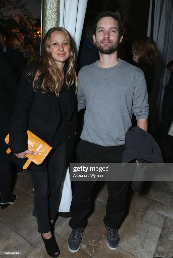 Actor <a gi-track='captionPersonalityLinkClicked' href=/galleries/search?phrase=Tobey+Maguire&family=editorial&specificpeople=203015 ng-click='$event.stopPropagation()'>Tobey Maguire</a> (R) and wife Designer <a gi-track='captionPersonalityLinkClicked' href=/galleries/search?phrase=Jennifer+Meyer&family=editorial&specificpeople=240137 ng-click='$event.stopPropagation()'>Jennifer Meyer</a> attend GREY GOOSE Pre-Oscar Party hosted by Michael Sugar, Doug Wald, Nathan Kahane and Warren Zavala at Chateau Marmont on February 23, 2013 in Los Angeles, California.