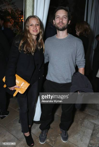Actor Tobey Maguire and wife Designer Jennifer Meyer attend GREY GOOSE PreOscar Party hosted by Michael Sugar Doug Wald Nathan Kahane and Warren...