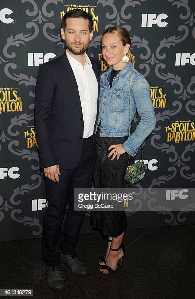 Actor Tobey Maguire and wife Jennifer Meyer arrive at the Los Angeles premiere of 'The Spoils Of Babylon' at DGA Theater on January 7 2014 in Los...