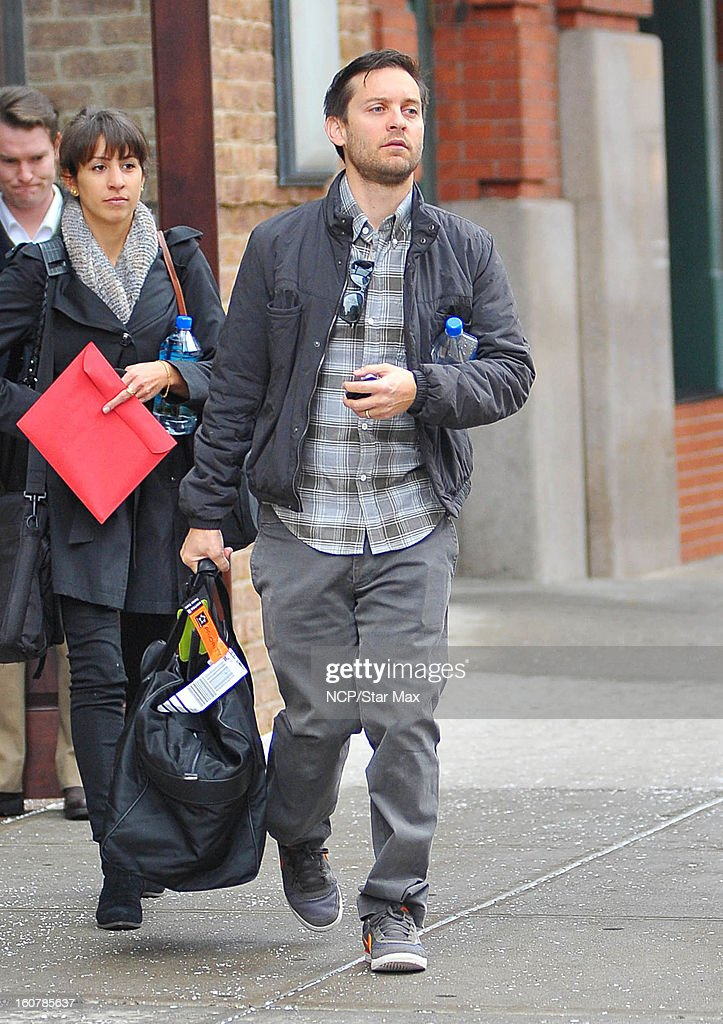 Actor <a gi-track='captionPersonalityLinkClicked' href=/galleries/search?phrase=Tobey+Maguire&family=editorial&specificpeople=203015 ng-click='$event.stopPropagation()'>Tobey Maguire</a> as seen on February 5, 2013 in New York City.