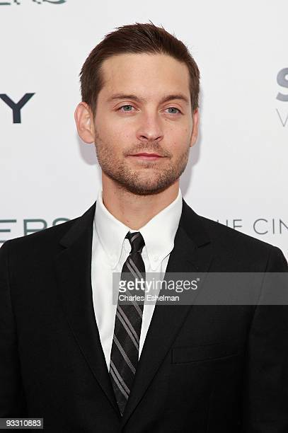 Actor Tobey Maguire attends The Cinema Society with Details and DKNY Men screening of 'Brothers' at the SVA Theater on November 22 2009 in New York...