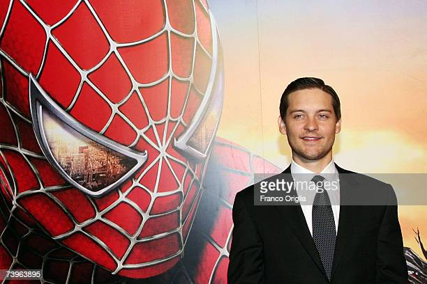 Actor Tobey Maguire attends the Italian premiere of the movie 'Spiderman 3' at the Warner Moderno Cinema on April 24 2007 in Rome Italy