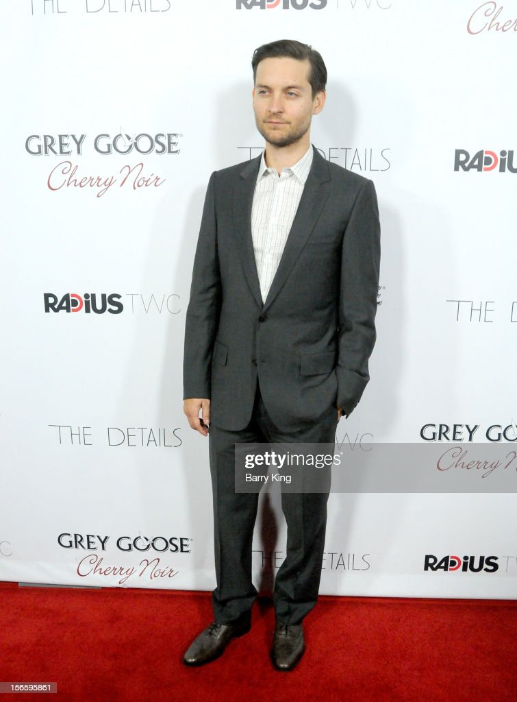 Actor <a gi-track='captionPersonalityLinkClicked' href=/galleries/search?phrase=Tobey+Maguire&family=editorial&specificpeople=203015 ng-click='$event.stopPropagation()'>Tobey Maguire</a> attends the premiere of 'The Details' t ArcLight Cinemas on October 29, 2012 in Hollywood, California.