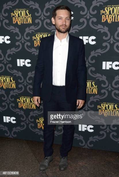Actor Tobey Maguire attends the screening of IFC's 'The Spoils Of Babylon' at DGA Theater on January 7 2014 in Los Angeles California