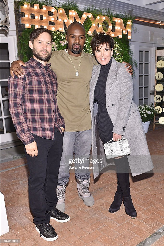 Actor Tobey Maguire Corey Gamble and TV Personality Kris Jenner attend Barneys New York Jennifer Aniston and Tobey Maguire host a private dinner to...