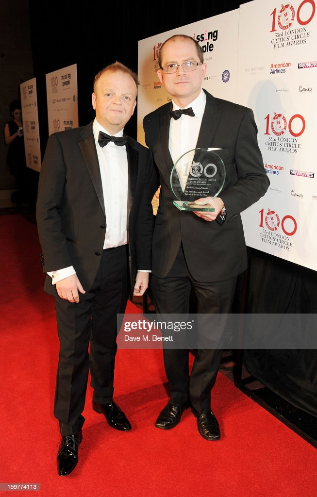 Actor Toby Jones (L) and soundman Stevie Haywood, accepting The Attenborough Award for British Film of the Year for 'Berberian Sound Studio', pose in the press room at The London Critics Circle Film Awards at the May Fair Hotel on January 20, 2013 in London, England.