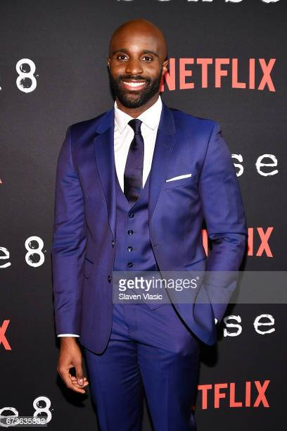 Actor Toby Onwumere attends 'Sense8' New York Premiere at AMC Lincoln Square Theater on April 26 2017 in New York City