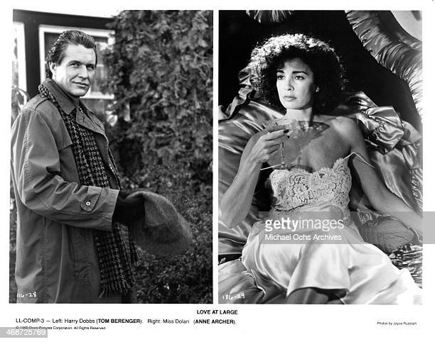 Actor Tom Berenger actress Anne Archer on set of the Orion Picture movie ' Love at Large ' circa 1990